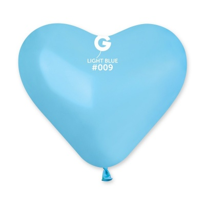 COLORED BALLONS HEART 10 inch LIGHT BLUE 100 pcs.