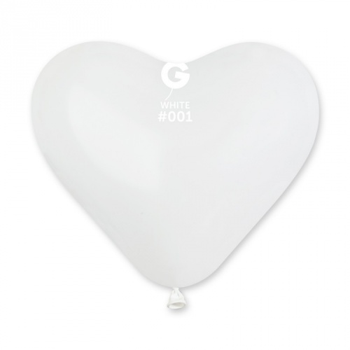 COLORED BALLONS HEART 10  inch WHITE 100 pcs.