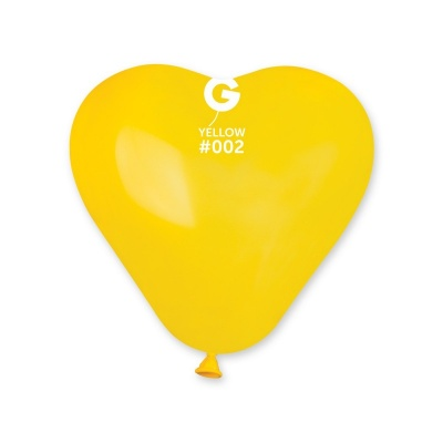 COLORED BALLONS HEART 10 inch GIALLO 100 pcs.
