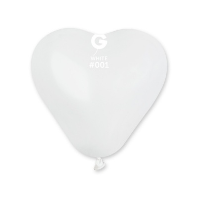 COLORED BALLONS HEART 6  inch WHITE 100 pcs.