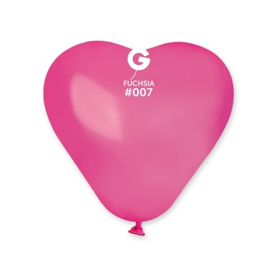 COLORED BALLONS HEART 6  inch FUXIA COLORS 100 pcs.