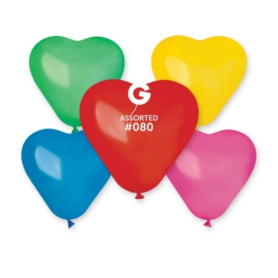 COLORED BALLONS HEART 6  inch MIX COLORS 100 pcs.